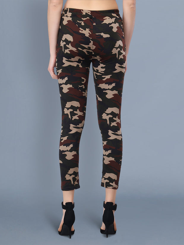 Multicolor Camouflage Print Women Track Pant-2518
