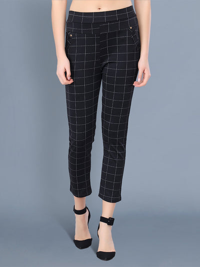 Black Cotton Lycra Checkered Women Pant