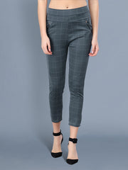 Grey Cotton Lycra Checkered Women Pant-2524