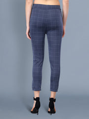 Navy Cotton Lycra Checkered Women Pant-2523