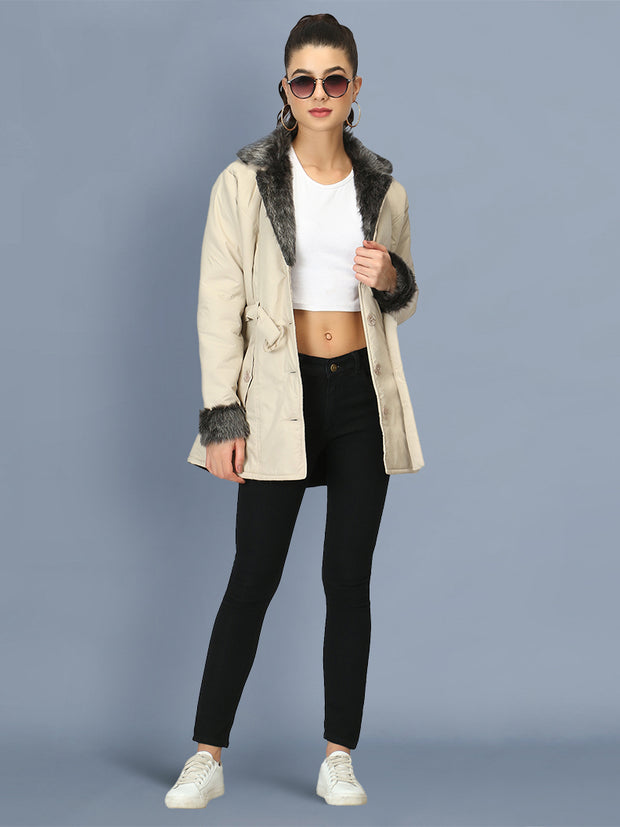 Off White NS Butter Women Jacket with Fur Collar-2509
