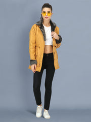 Yellow NS Butter Women Jacket with Fur Collar-2510
