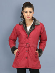 Maroon NS Butter Women Jacket with Fur Collar-2508