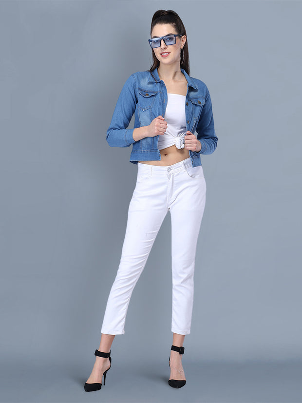 Light Blue Solid Casual Denim Jacket-2437E