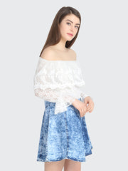 Denim Net Blue & White Off-Shoulder Dress For Women-1694