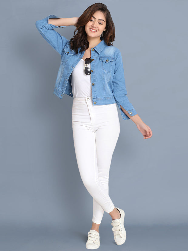Light Blue Solid Casual Denim Jacket-2437