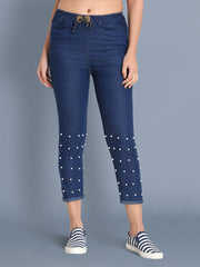 Dark Blue Pearl Embellished Denim Jogger Jeans-2439