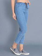 Light Blue Pearl Embellished Denim Jogger Jeans-2440