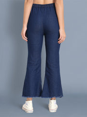 Dark Blue Pearl Embellished Denim Palazzo Jeans-2441