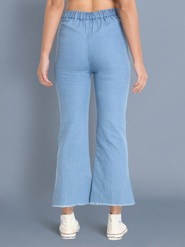 Light Blue Pearl Embellished Denim Palazzo Jeans-2442