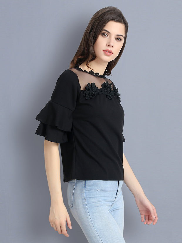 Black Cotton Blend Floral Lace Top-2300