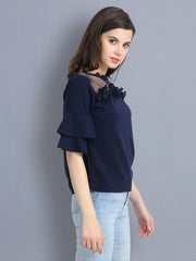Navy Cotton Blend Floral Lace Top-2301