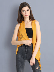 Yellow Cotton Blend Cut-Outs Short Shrug-2295