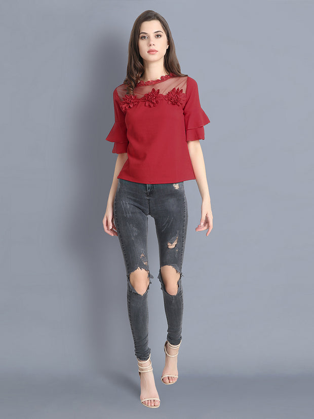 Red Cotton Blend Floral Lace Top-2303
