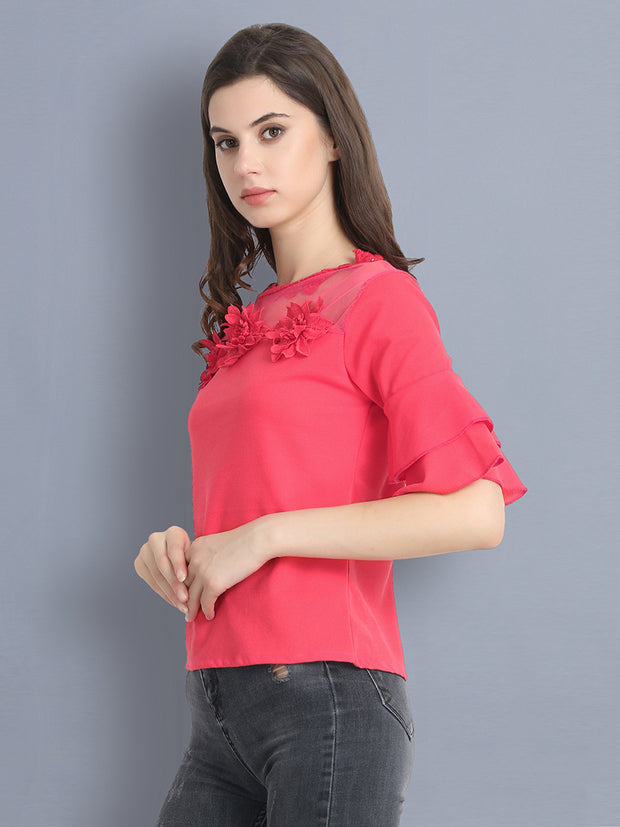 Pink Cotton Blend Floral Lace Top-2304