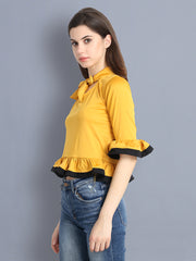 Yellow Cotton Blend Tie-Knot Top-2299