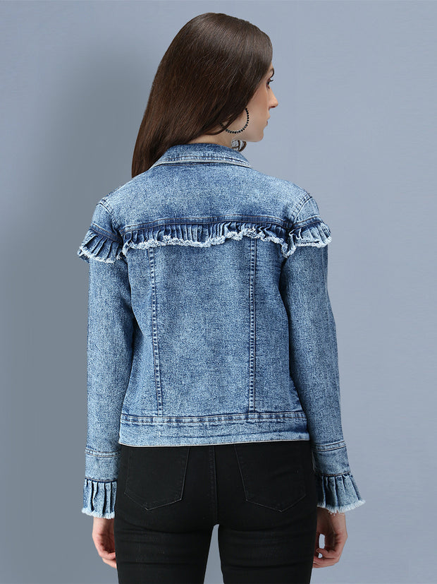 Blue Puff Sleeve Denim Women's Jacket-2545