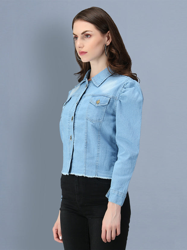 Light Blue Puff Sleeve Buttoned Denim Jacket-2550