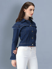 Dark Blue Puff Sleeve Denim Women's Jacket-2547