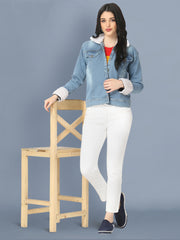 Light Blue Fur Hoodie Denim Jacket For Women-2492