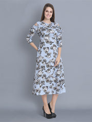 Sky Blue Rayon Floral Print Maxi Dress-2347