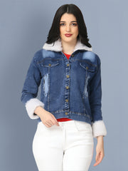 Dark Blue Fur Hoodie Denim Jacket For Women-2493