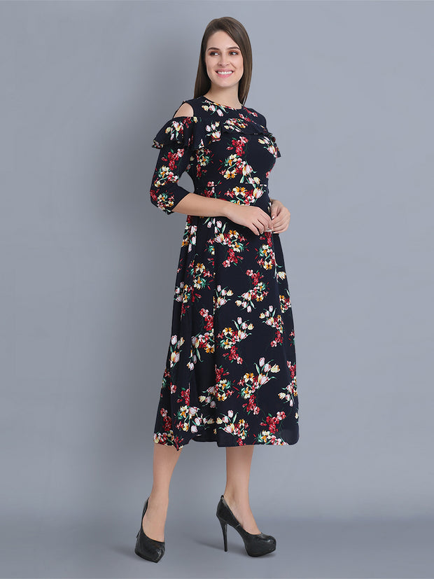Navy Rayon Floral Print Maxi Dress-2349
