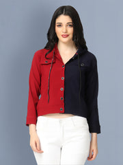 Cotton Lycra Maroon and Navy Buttoned Jacket with Hoodie-2494