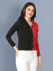 Cotton Lycra Black and Red Buttoned Jacket with Hoodie-2495