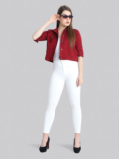 Maroon Solid Buttoned Twil Jacket-2271