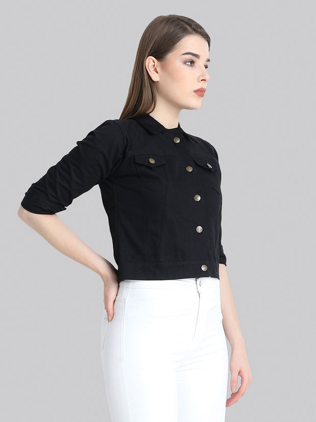 Black Solid Buttoned Twil Jacket-2272