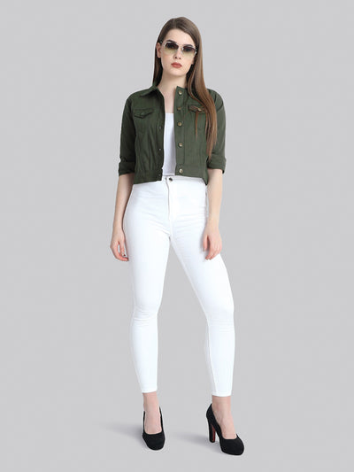 Dark Green Solid Buttoned Twil Jacket-2273