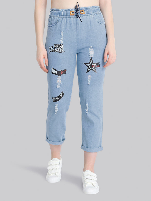 Light Blue Star Print Denim Jogger Jeans-2276