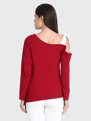 Maroon Cotton Long Sleeve Solid Shoulder Cut Top-2190