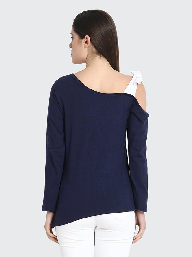 Navy Cotton Long Sleeve Solid Shoulder Cut Top-2191