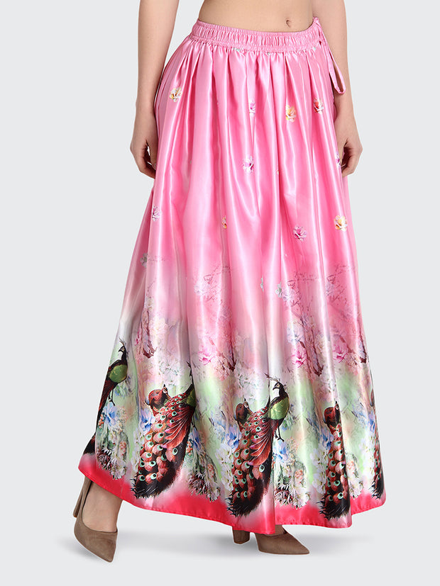 Pink Printed Long Maxi Silk Skirt-2194
