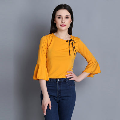 Yellow Imported Cotton Blend Crop Top-2283