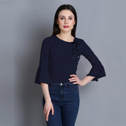 Navy Imported Cotton Blend Crop Top-2287