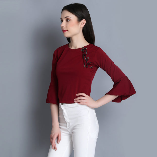 Maroon Imported Cotton Blend Crop Top-2286