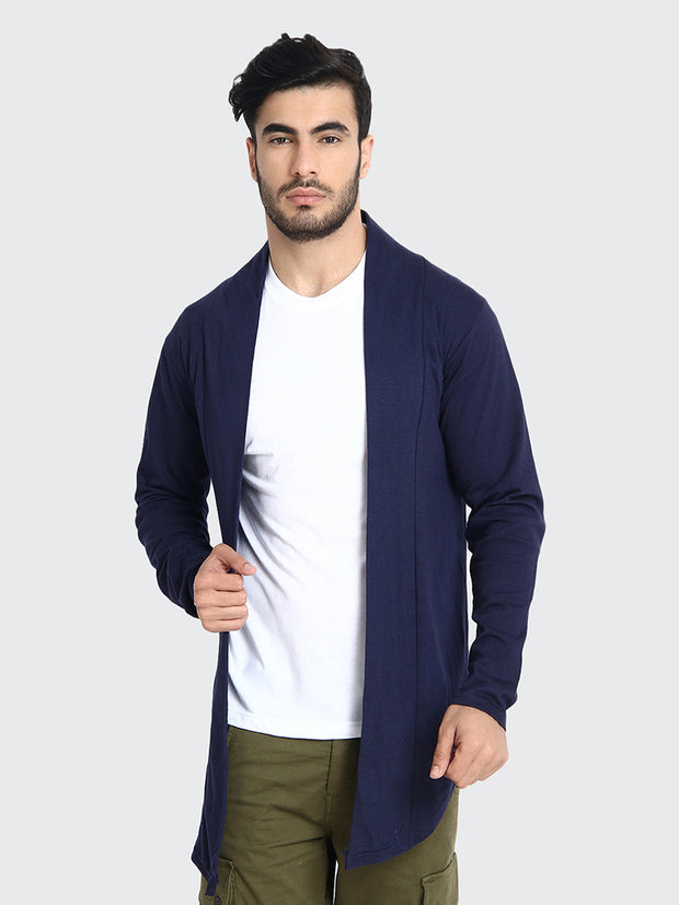 Navy Cotton Plain Men Shrug-2201