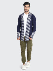 Navy Cotton Striped Men Shrug-2206
