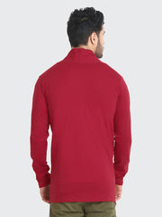 Maroon Cotton Plain Men Shrug-2203