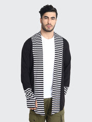 Black Cotton Striped Men Shrug-2207