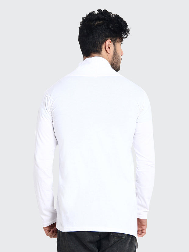 White Cotton Plain Men Shrug-2205