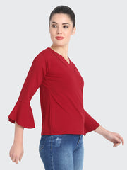 Maroon Cotton Blend Cold V Neck Top-2212