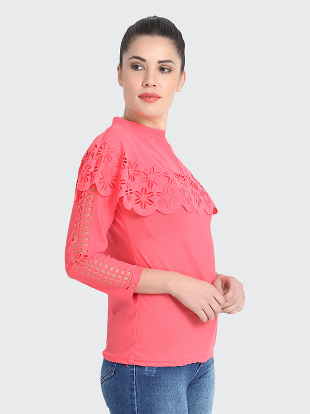Gajri Imported Crepe Cut-Outs Top-1861