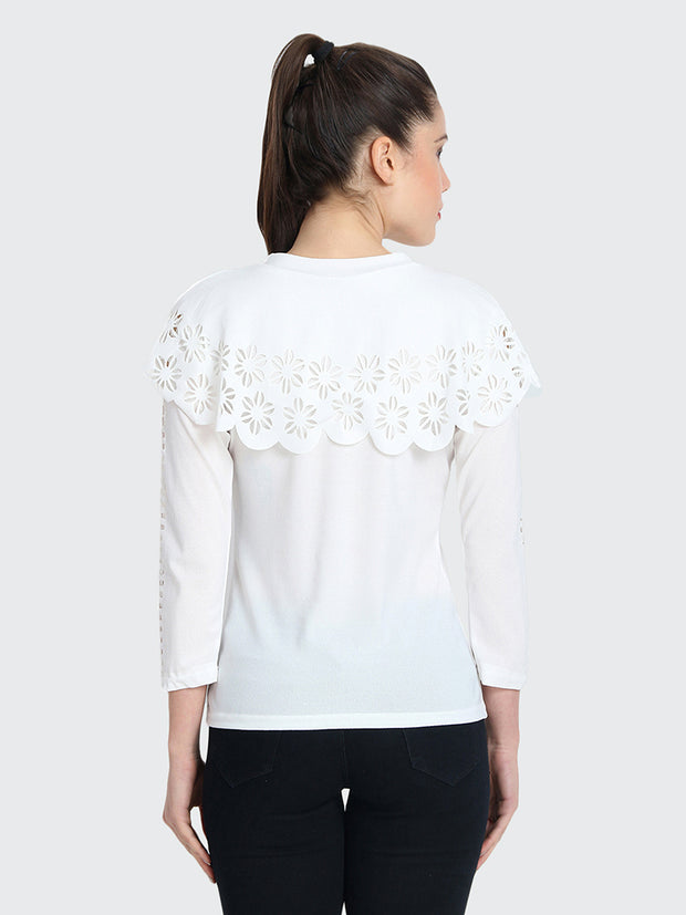 White Imported Crepe Cut-Outs Top-1862