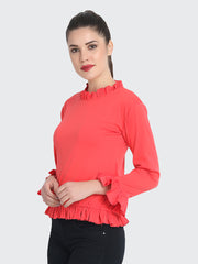 Gajri Cotton Blend Ruffled Top-2220