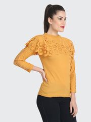 Yellow Imported Crepe Cut-Outs Top-1860