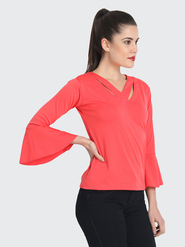 Gajri Cotton Blend Cold V Neck Top-2213